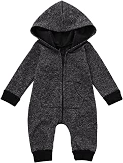 Sunbona Toddler Baby Boys Zip Hoodied Long Sleeve Romper Jumpuit Winter Warm Pajama Outfits Clothes