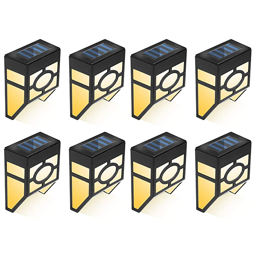 合わせて確執突き出すガーデンライト 壁掛け ソーラーライト センサーライト 2つ照明モード 7色変化 夜自動点灯 IP65防水 ガーデン風景用 経路/芝生/車道/歩道/庭/屋外などに対応 8個セット