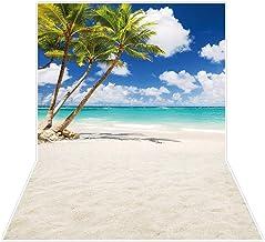 7x10 FT Ocean Vinyl Photography Backdrop,Palms Tropical Island Beach Seashore Water Waves Hawaiian Nautical Marine Background for Baby Birthday Party Wedding Studio Props Photography