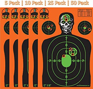 EZ-C Shooting Targets | 12 x 18 inch Orange Silhouette Reactive Splatter Target | Bright Fluorescent Orange Burst On Impact | Range Practice | Gun, Rifle, Pistol, BB Gun, Airsoft, Air Rifle