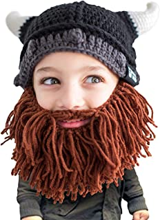 Kid Viking Beard Beanie - Horned Hat and Fake Beard for Kids Toddlers