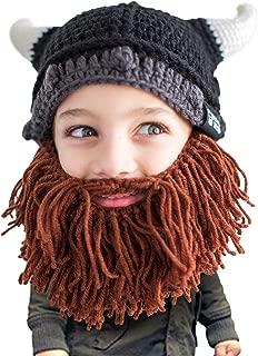 Kid Viking Beard Beanie - Horned Hat and Fake Beard for Kids Toddlers