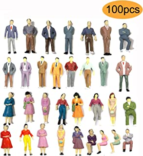 100PCs Tiny People Figures, Gdaya 1:50 Scale Model Train People Hand Painted Model Trains Architectural O Scale Sitting and Standing Miniatures Figures for Miniature Scenes