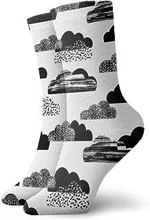 雲白黒ファッショナブルなカラフルなファンキー柄の綿のドレスソックス11.8インチ