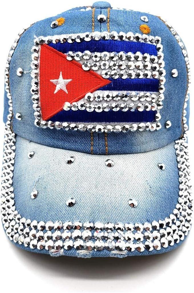 YY Fashion Denim Cap-Cuba Flag Rhinestone Design Adjustable Denim Baseball Cap