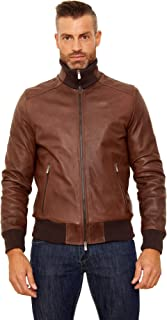 Men's Italian Leather Bomber Jacket Brown