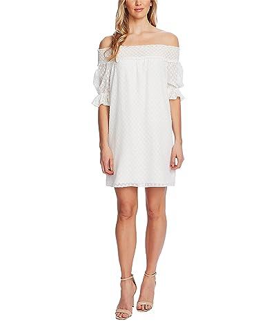 CeCe Off-the-Shoulder Clip Dot Dress