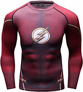 Red Plume Men`s Compression Sports Shirt Cool Lightning/Flash Running Long Sleeve Tee