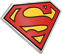 Fan Emblems Superman Logo 3D Car Emblem Black/Red/Yellow/Chrome, DC Comics Automotive Sticker Decal Badge Flexes to Fully Adhere to Cars, Trucks, Motorcycles, Laptops, Windows, Almost Anything