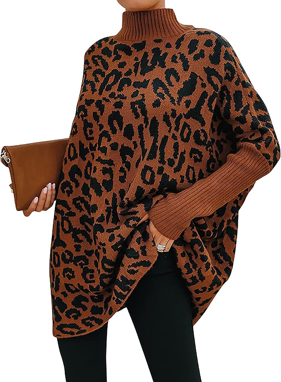 Zenlonr Women's Casual Turtleneck Sweaters Ribbed Long Batwing Sleeve Leopard Print Oversized Pullover Sweater Knit Tops