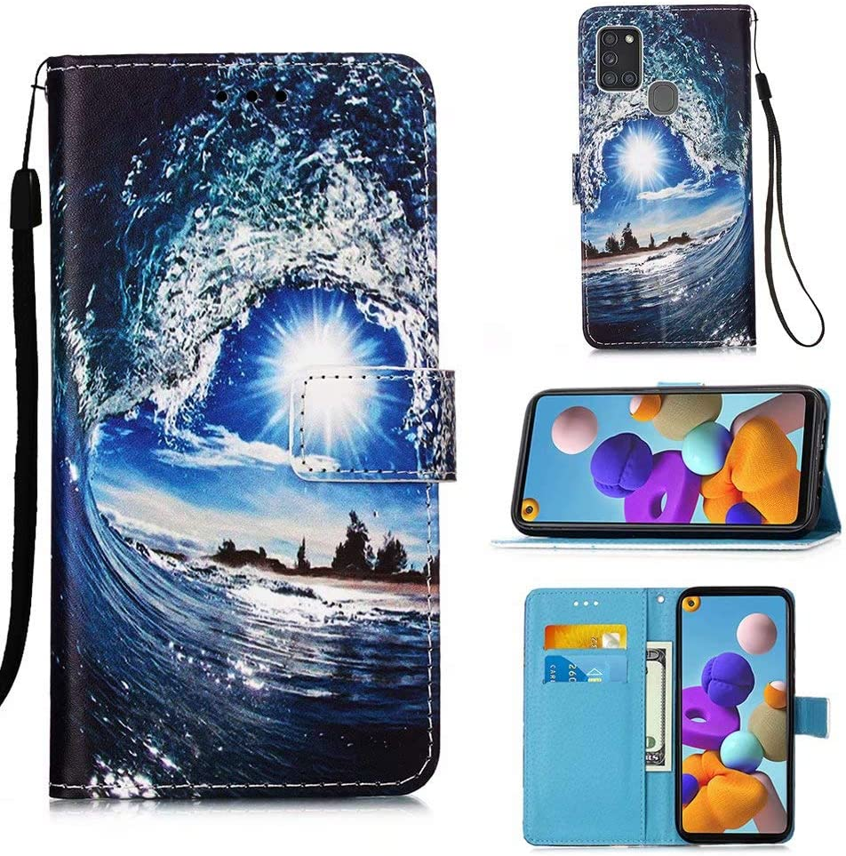 Miagon for Samsung Galaxy A21S Wallet Case,PU Leather Folio Flip Cover with Stand Card Slots Magnetic Closure,Blue Butterfly