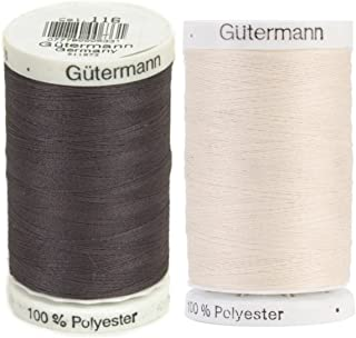 Egg Shell & Smoke - 2-Pack Bundle of Gutermann Sew-All Thread - 547 Yards each …
