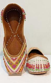 SHREESADGURU Fashion Embroidered White Gold Juti/Mojaris for Women and Girls (red, 6)