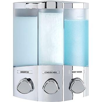 in Chrom-Finish Better Living Seifen- Duschgel- und Shampoo-Spender wei/ß 2-Chamber