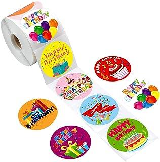 Unknow Lot de 500 étiquettes rondes pour album de scrapbooking Motif Happy Birthday