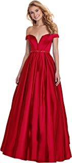 Women's Off The Shoulder V Neck Beaded Prom Dress Long Formal Evening Gown with Pockets