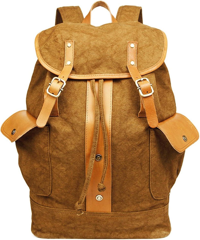 PPGE Canvas Fashion Casual Backpack For Men Satchel Rucksack Daypack Travel Bag Shoulder School Bag Schoolbag For 15.6 Inch Laptop,Brown