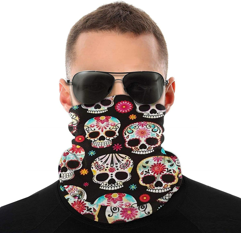 1 Pack Unisex Face Sugar Skull Bandana Neck Gaiter, Reusable Washable Cloth Fabric Tube Scarf Motorcycle Balaclava For Men Women Winter Outdoor