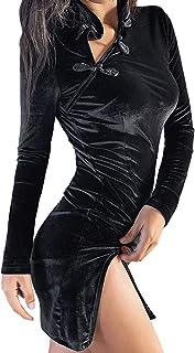 JFseason Womens Sexy Cheongsam Side Split Mini Velvet Party Club Cocktail Dresses