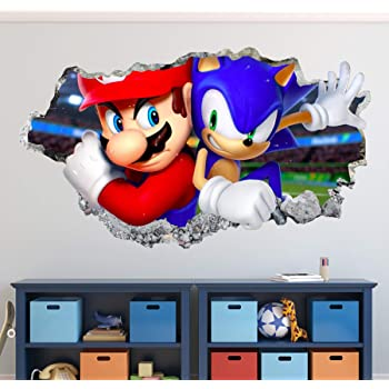 Amazon Com Sonic And Mario Bros Wall Decal Art Decor 3d The Hedgehog Smashed Sticker Kids Mural Poster Gift Custom Ha24 50 W X 30 H Home Kitchen