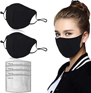 Dust Mask, Amazer Tec Activated Carbon Dustproof Mask, 2 pcs Cotton mask with 4 Extra Carbon Filters for Pollen Allergy Woodworking Mowing Running Cycling Outdoor Activities(Black)