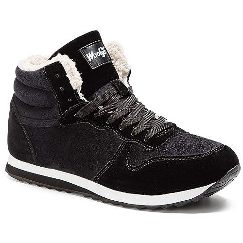 Gaatpot Zapatos Invierno Botas Forradas de Nieve Zapatillas Sneaker Botines Planas para Hombres Mujer Negro EU