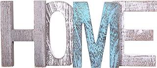 Letras de madera decorativas HOME - Letras de madera grandes para decoración de paredes en azul rústico blanco y gris-D...
