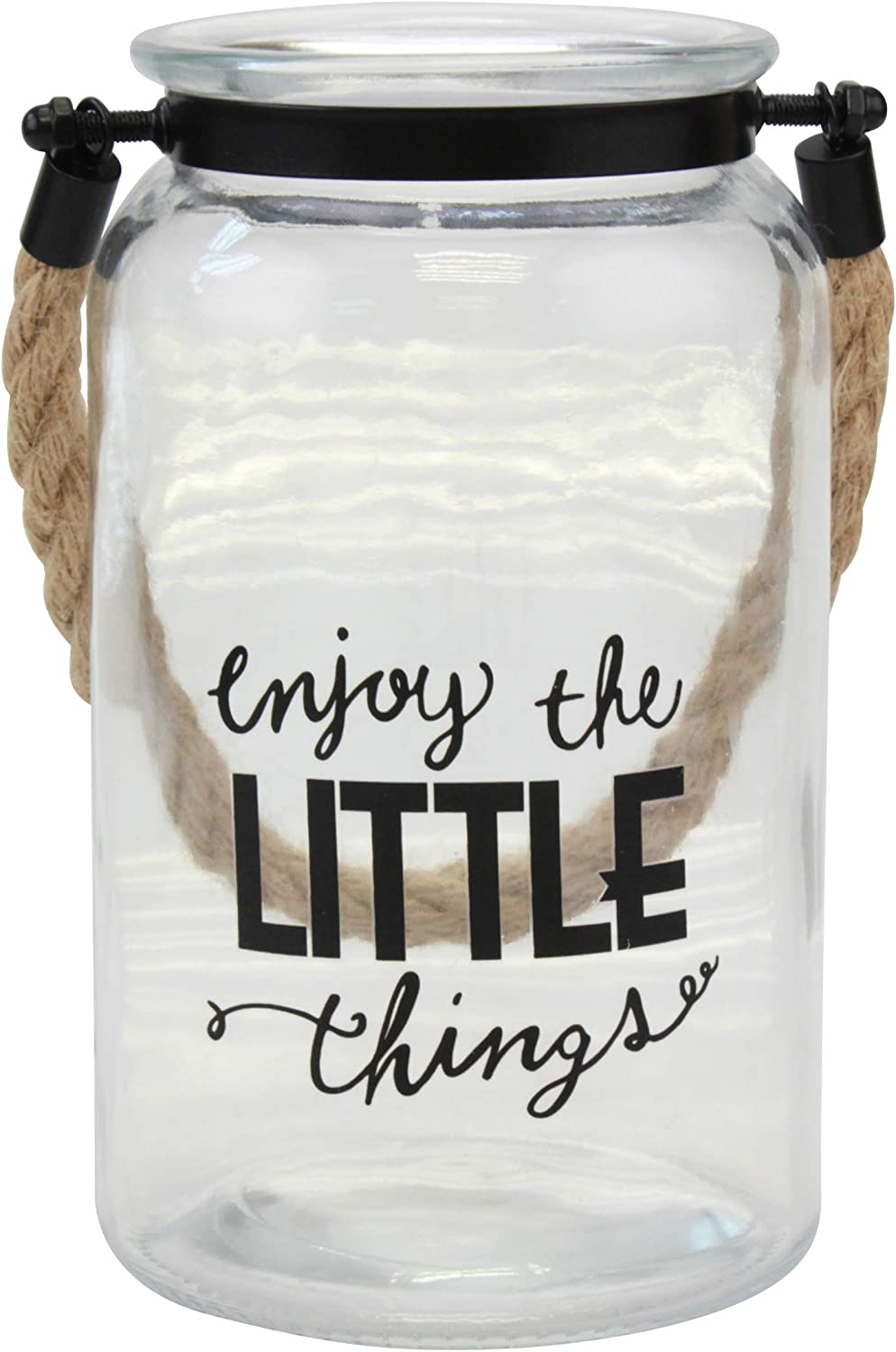 Stonebriar Enjoy The Little Things Decorative Glass Candle Lantern with Handle and Sentiment Saying, Clear