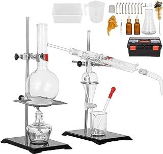VEVOR Distillation Apparatus Kit 500ml Essential Oil Distiller Fractional Distillation Kit Lab Glassware Distillation Apparatus Short Path Distillation Kit Organic Chemistry Glassware Kit