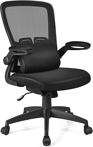 lowest Giantex Ergonomic Desk Chair outlet sale w/Portable Lumbar Pillow, Mesh Padded Seat and Flip up Armrests, Swivel Home Office Chair with Wheels, Adjustable Height Computer discount Desk Chair(Black) outlet online sale