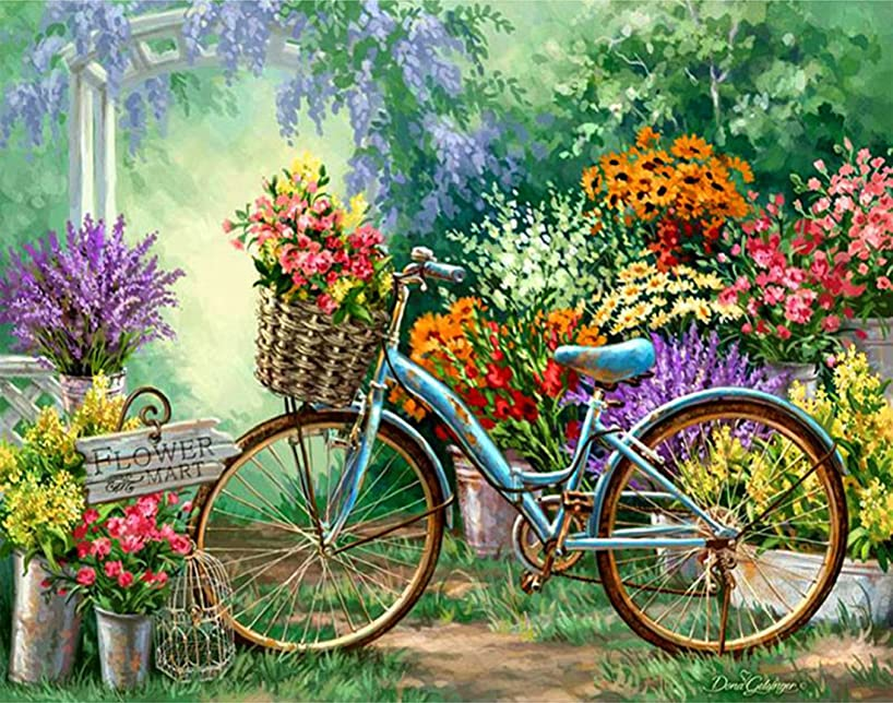 21secret 5D Diamond Diy Painting Full Drill Handmade Old Bicycle in the Flower Market Cross Stitch Home Decor Embroidery Kit