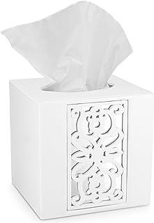 (Square Tissue Box) - Dwellza Mirror Janette Tissue Box Cover Square (15cm x 15cm x 15cm ) - Decorative Bath Tissues Paper...
