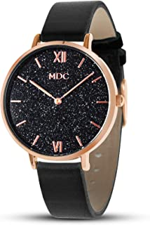 MDC Womens Minimalist Ultra Thin Leather Watch Starry Sky Marble Face Slim Dress Casual Wrist Watches for Ladies