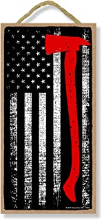 Honey Dew Gifts Firefighter Patriotic Signs, Thin Axe Red Line American Flag 5 inch by 10 inch Hanging Wall Art, Decorativ...