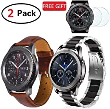 (2 Pack) F.R Bands Compatible Gear S3 Frontier & Classic and Galaxy Watch 46mm, Stainless Steel + Genuine Leather 22mm Strap Replacement Wristband Compatible With Gear S3, 2x Screen Protector As Bonus