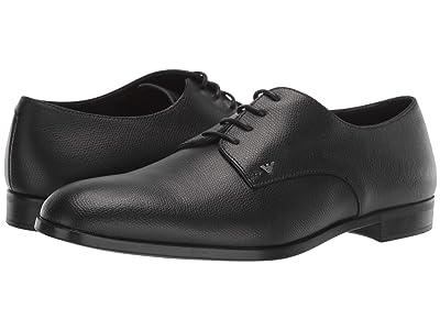 Emporio Armani Textured Leather Derby (Black) Men