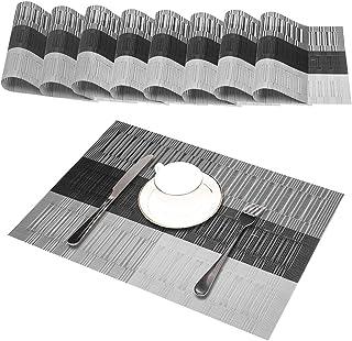 GODTEN Sets de Table (Ensemble de 8), Antidérapants, Anti Usure, résistant à la Chaleur, PVC Lavable, Anti encrassement et...