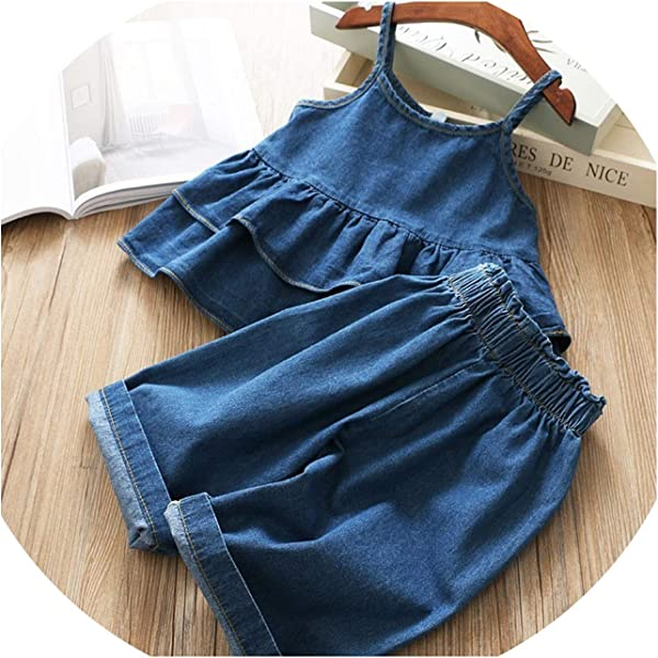 Summer Girl Denim Dress Solid Ruffles Baby Clothes Sets For Kids Boutiques Clothes Blue 4