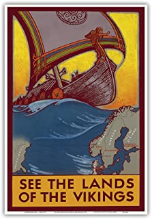 See The Land of The Vikings - Map of Scandinavia - Viking Ship - Vintage World Travel Poster by Ben Blessum c.1937 - Master Art Print - 13in x 19in