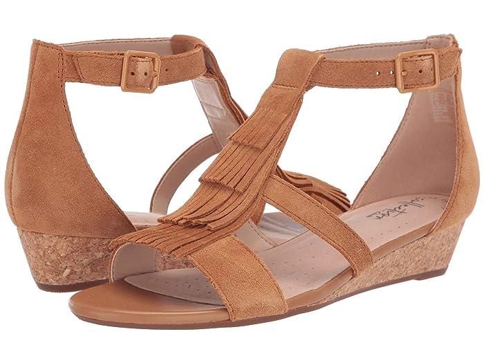 Vintage Sandal History: Retro 1920s to 1970s Sandals Clarks Abigail Sun Tan Suede Womens Wedge Shoes $63.65 AT vintagedancer.com