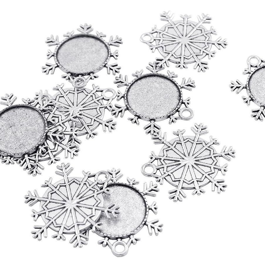 20 PCS Snowflake Pendant Trays Pendant Blanks Cameo Bezel Cabochon Settings for Crafting DIY Jewelry Making
