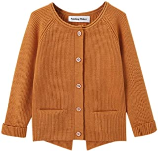 SMILING PINKER Toddler Girls Cardigan Sweater Turned UP Sleeves with Pockets