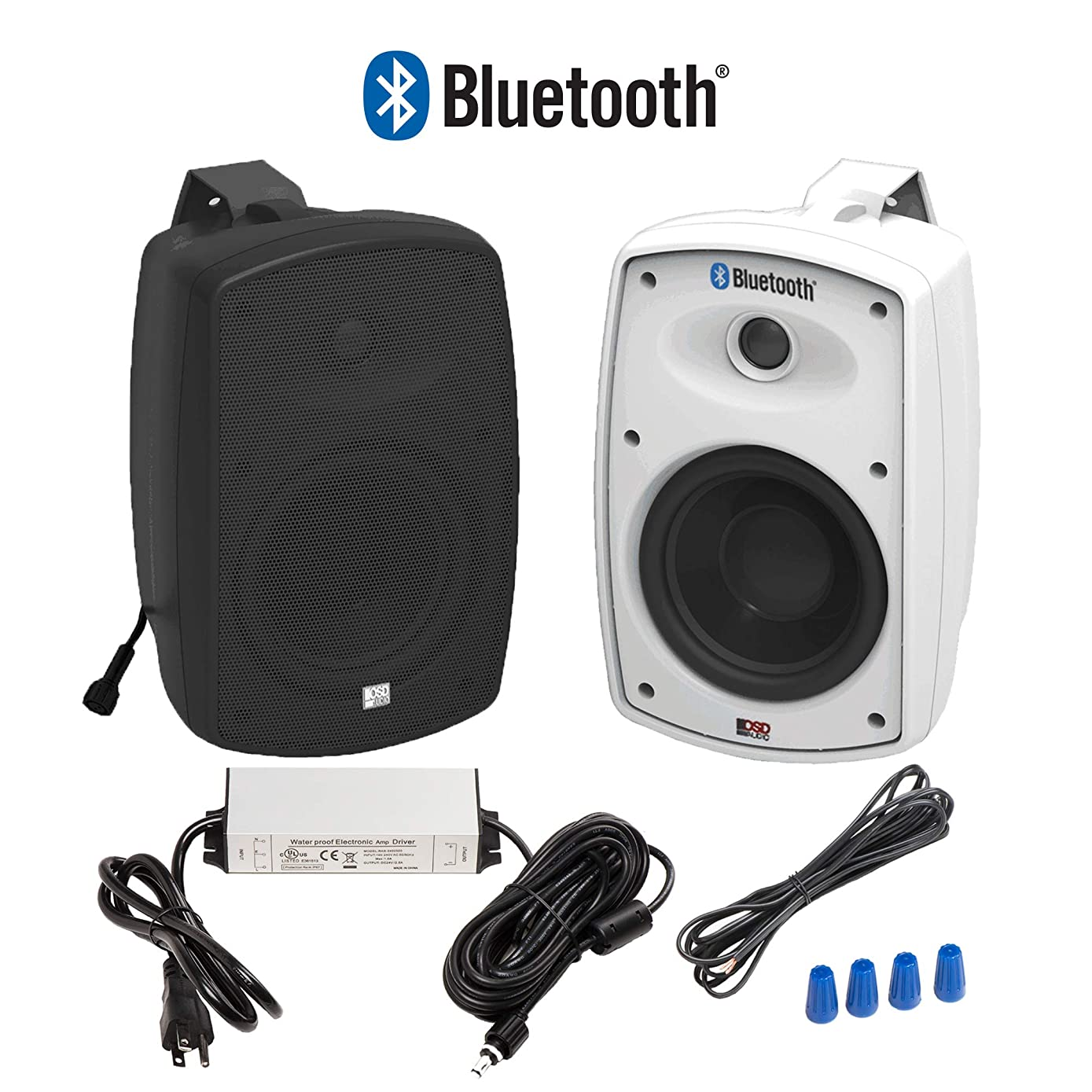 "OSD Audio 5.25"" Bluetooth Outdoor Patio Speaker –Wireless Pair, Black - BTP-525Blk"