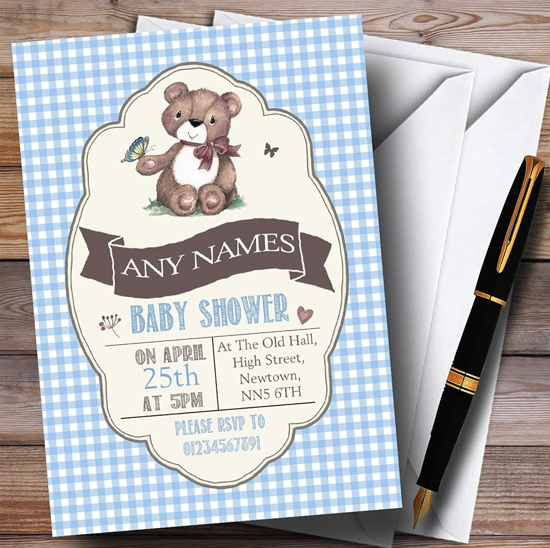 bluee Boys Teddy Bear Picnic Invitations Baby Shower Invitations