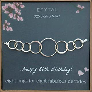 EFYTAL 80th Birthday Gifts for Women, Sterling Silver Eight Circle Bracelet for Her, 8 Decade Jewelry 80 Years Old