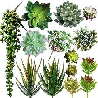 Supla Pack of 14 Assorted Artificial Succulents Picks Textured Aloe Faux Succulent Pick Succulent Stems Fake Succulent Bou...