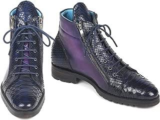 Paul Parkman Genuine Python & Calfskin Side Zipper Boots Navy Purple (ID#543JK65)