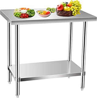 Commercial Kitchen Prep & Work Table, KITMA Stainless Steel Food Prep Tables, 36 x 30 Inches,NSF