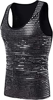 XINHEO Men's Nightclub Fashion Slim Casual Stage Clothing Sequin Tank Top