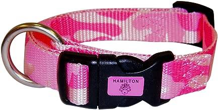 "Hamilton Small Dog Collar Nylon with Brushed Hardware, 8"" to 14"", Pink Camouflage"